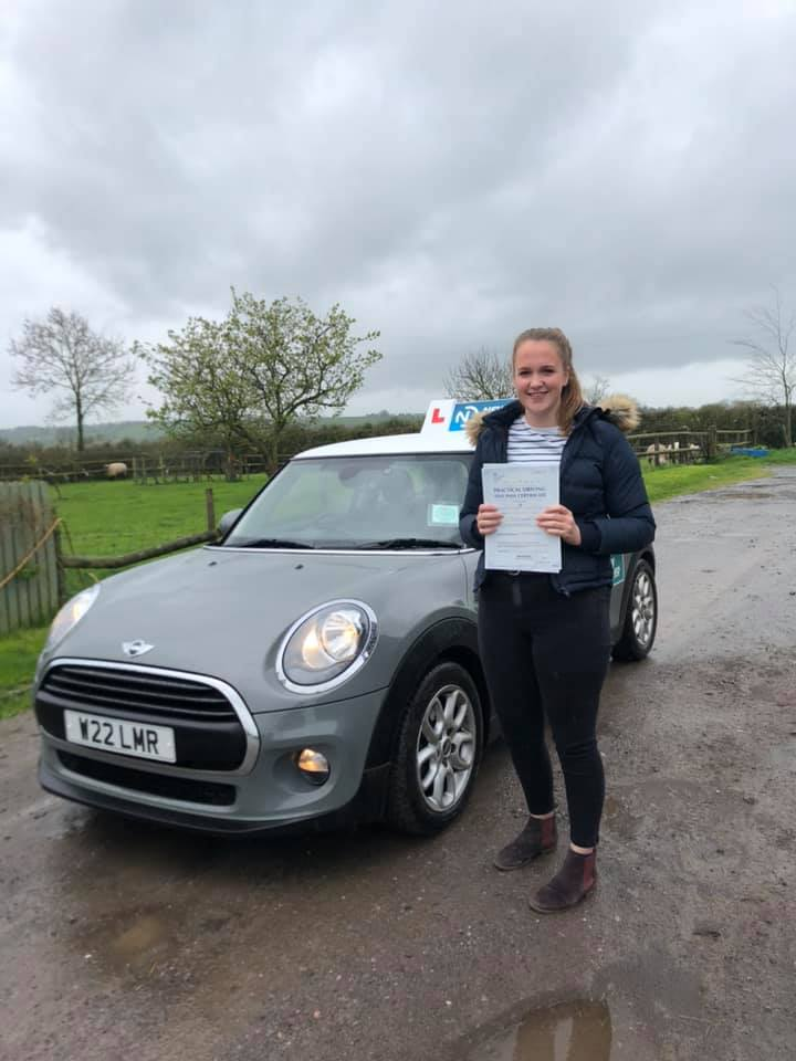 Reason to drive driving instructor customer review April 2019. Picture of Jeanette Churches with Lauren Reason ADI's Mini
