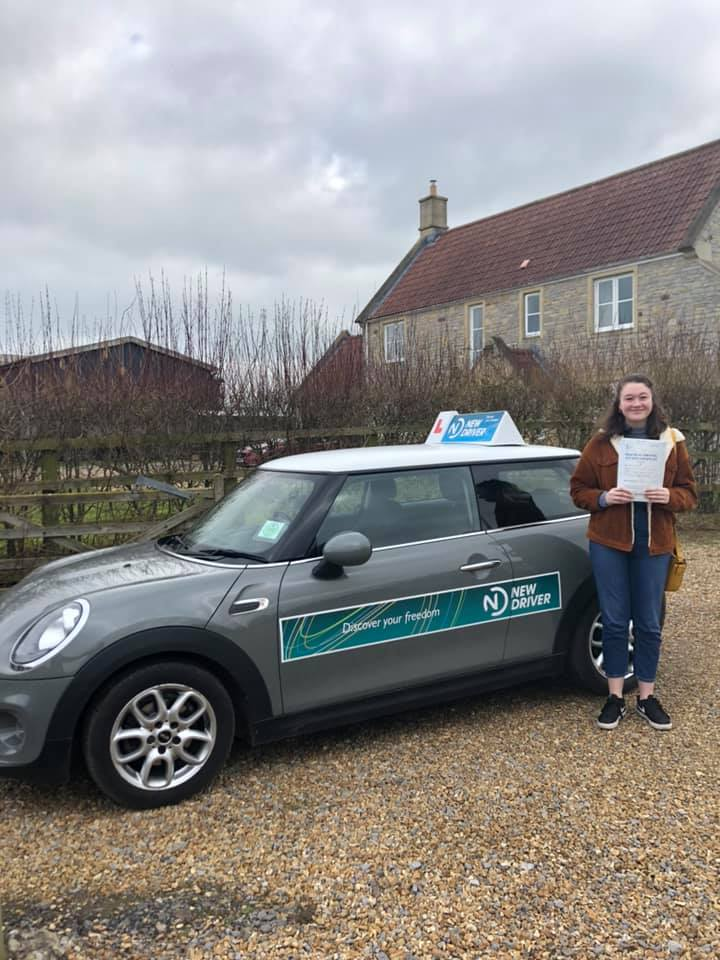 Reason to drive driving instructor customer review Feb 2019. Picture of Kit Harrison with Lauren Reason ADI's Mini