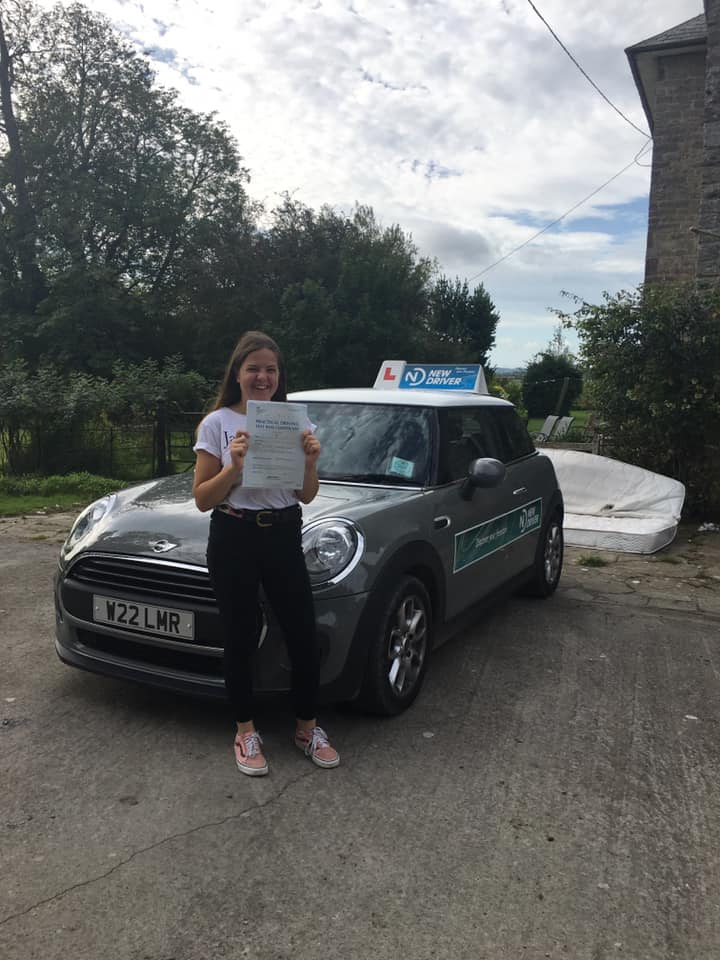 Reason to drive driving instructor customer review August 2019. Picture of Leah Palmer with Lauren Reason ADI's Mini
