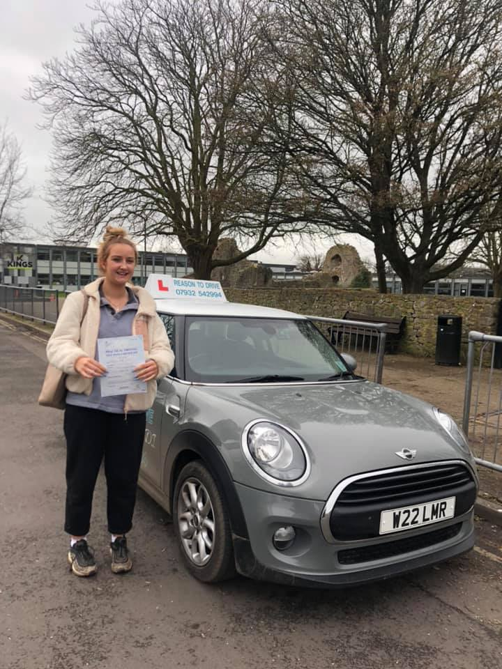 Reason to drive driving instructor customer review Feb 2020. Picture of Tilly Floyd with Lauren Reason ADI's Mini
