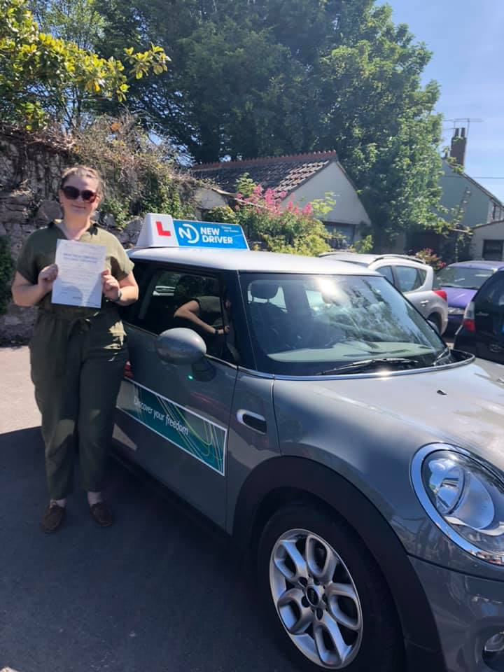 Reason to drive driving instructor customer review July 2019. Picture of Verity Adams with Lauren Reason ADI's Mini